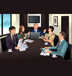 Business team meeting in a modern office vector