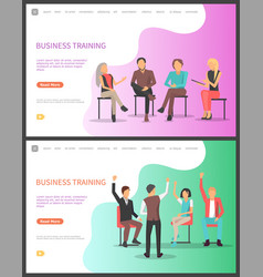 Business training seminar workers meeting set vector