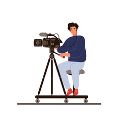 Cameraman sitting hold professional camera vector