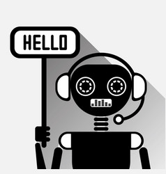 Chatbot says hello icon concept black chat bot or vector