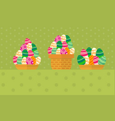 Collection of easter egg in basket vector