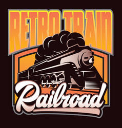 Colorful retro posters with a vintage locomotive vector