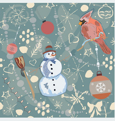 colorful seamless winter pattern vector image