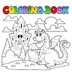 Coloring book dragon theme image 1 vector
