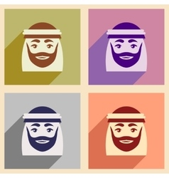 Concept flat icons with long shadow Arab men vector