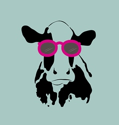 Cow wearing glasses vector