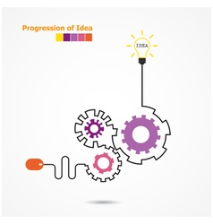 Creative light bulb symbol with linear of gear vector