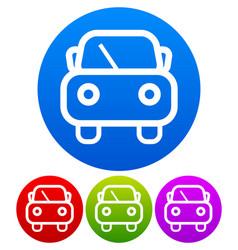 cute car symbol on colored circles vector image