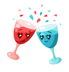 cute couple glasses in love valentine day vector image