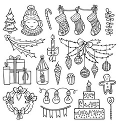 cute hand-drawn christmas elements vector image