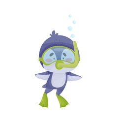 Cute penguin wearing diving suit snorkeling vector