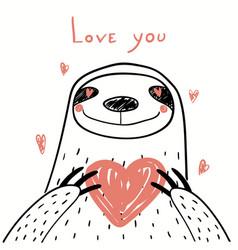 Cute sloth valentine card vector