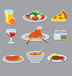 Dinner stickers and badges vector