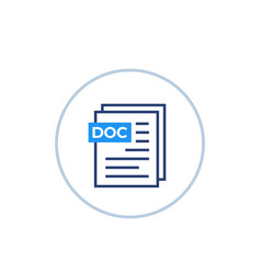 doc document icon on white vector image