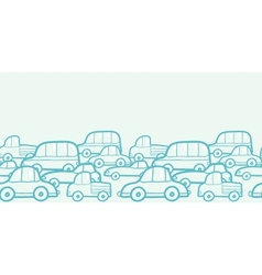 Doodle cars horizontal seamless pattern background vector