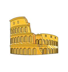 Doodle medieval coliseum rome architecture design vector