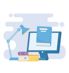 Education online computer books and ebook learn vector
