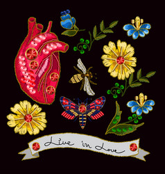 Embroidery in the form of heart with flowers vector