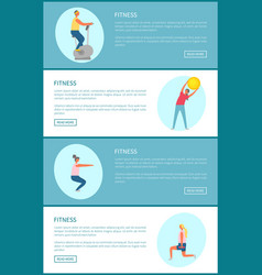 fitness exercise tips web page template sport vector image