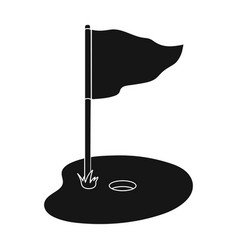 Flag and golf coursegolf club single icon in vector