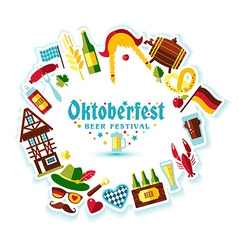 Flat design with oktoberfest celebration sym vector image