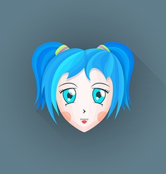 Flat japanese cartoon manga girl head icon vector