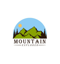 forest mountain adventure explore logo vector image