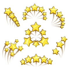 Golden stars design element set vector
