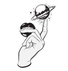 Hand drawn of human hand lips and planet hand vector