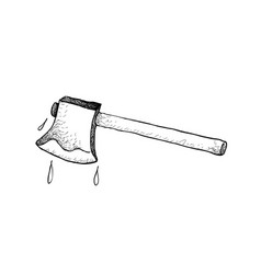 Hand drawn sketch of an axe or ax vector
