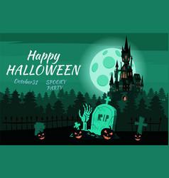 happy halloween pumpkin in the cemetery black vector image