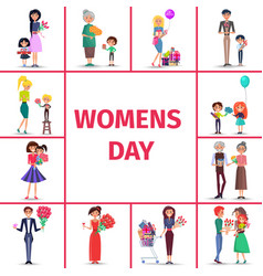 Happy womens day for girls women and grandmothers vector