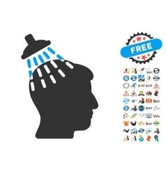 Head Shower Icon With 2017 Year Bonus Pictograms vector