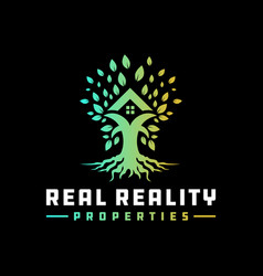 house building logo on tree vector image