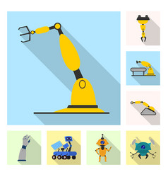 Isolated object robot and factory symbol set vector