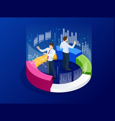 Isometric business analytics strategy and vector