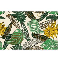 Jungle bright leaves vector