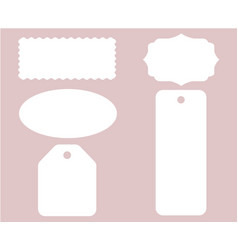 Label tag stitch set white isolated vector