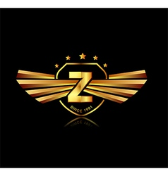 Letter Z winged crests logo Alphabet logotype vector image