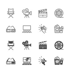 line and silhouette cinema movie icons set vector image