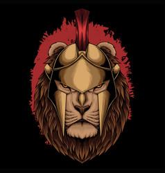lion sparta helmet vector image
