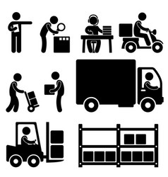 Logistic warehouse delivery shipping icon vector