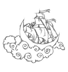 Magic moon flying ship in clouds above the sky vector