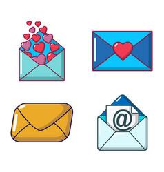 mail icon set cartoon style vector image