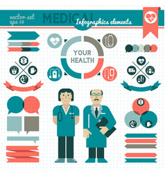 medical infographic element set vector image