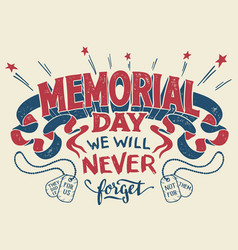 memorial day hand lettering greeting card vector image
