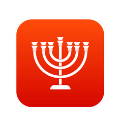 Menorah icon digital red vector