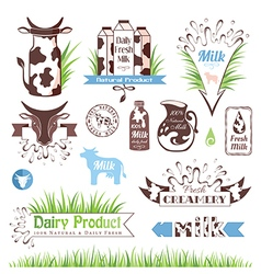 Milk labels badges and banners vector image