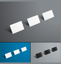 mockup three gift or bank cards with shadows in vector image