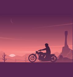 motorcycle rider in a desert landscape scene vector image